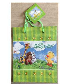 Little Suzy's Zoo Baby Animals Witzy's Wish Medium Green Gift Bag with Tag