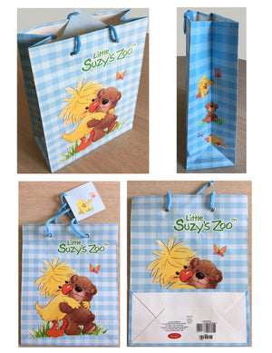 Little Suzy's Zoo Witzy Duck & Boof Bear Medium Blue Gift Bag with Tag