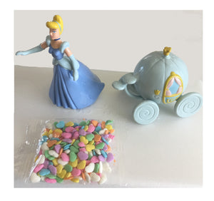 Princess Cinderella Birthday Cake Party Topper Deco Set - 3pc Kit with Carriage