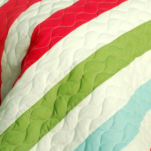 Green Red Blue Striped Teen Bedding Full/Queen Quilt Set - Detail