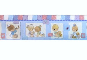 Vintage Precious Moments Wall Border Peel & Stick Patchwork Babies