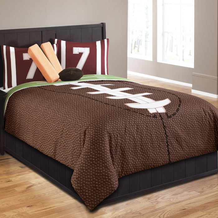 Brown Football Boys Bedding Twin Full/Queen Sports Comforter Set with Pillows