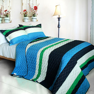 Blue Green & Navy Striped Teen Bedding Full/Queen Quilt Set Modern Bedspread
