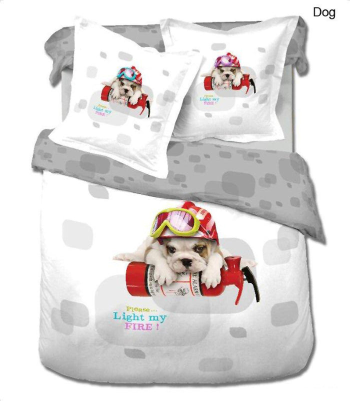 Bulldog Puppy Dog Bedding Twin 4pc Duvet Cover Set Designer Ensemble