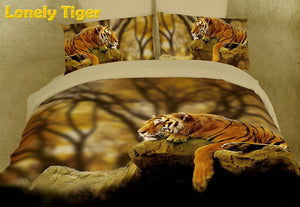 Lonely Tiger Duvet Cover Bedding Set King 3D Photo Designer Ensemble