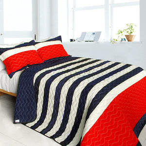 Americana Red Navy Blue White Striped Teen Boy Bedding Full/Queen Quilt Set Patriotic Bedspread