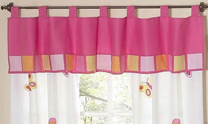 Hot Pink & Orange Window Valance Tab Top