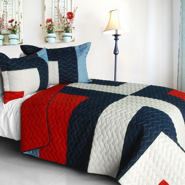 Red White Navy Criss-Cross Geometric Teen Boy Bedding Full/Queen Quilt Set