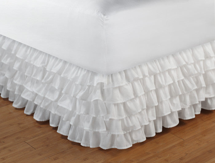 "White Multi-Ruffled Sheer Bed Skirt / Dust Ruffle Twin Full Queen King 15"" Drop"