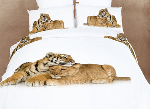 Animals Baby Lion & Tiger Bedding Twin XL or Queen Duvet Cover Set Designer Ensemble