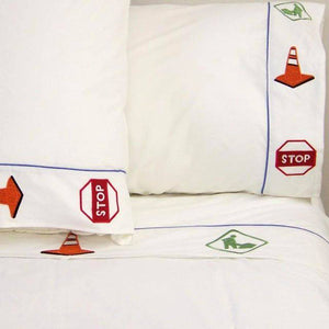 Road Construction Queen Bed Sheets for Boys Embroidered Cotton