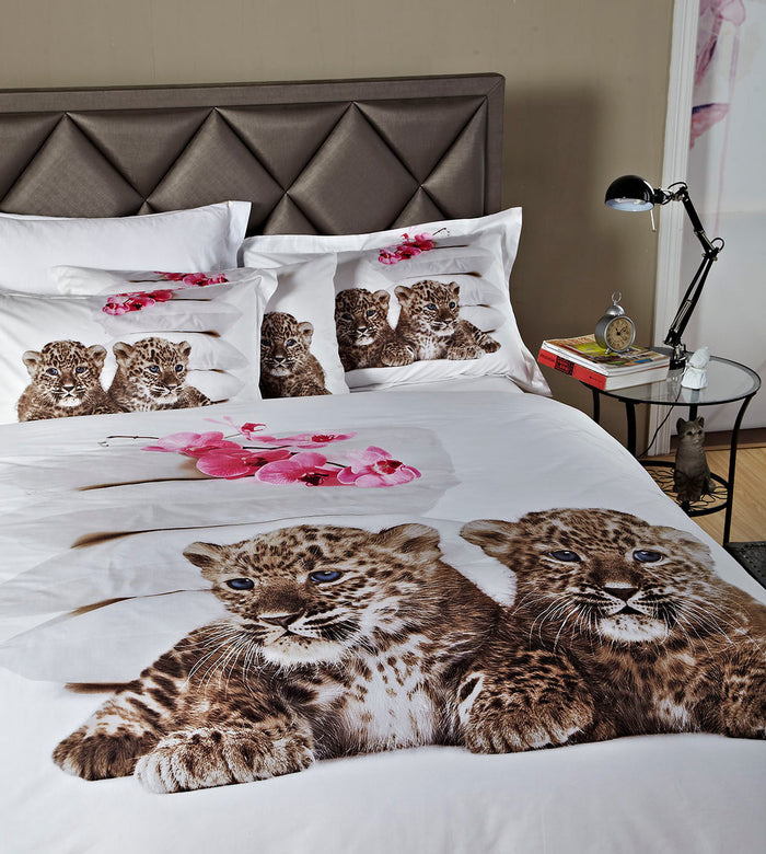 Baby Leopards Bedding Twin XL or Queen Cotton Duvet Cover Set Designer Ensemble