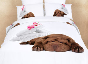 Bulldog Puppy Dog Themed Girls Bedding Twin or Queen Duvet Cover Set Designer Ensemble