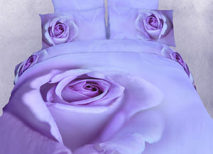 Purple Lavender Rose Bedding King Duvet Cover Set 3D Photo Designer Ensemble