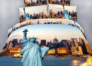 New York Statue of Liberty Manhattan Bedding Twin Queen King Duvet Cover Set Designer Ensemble