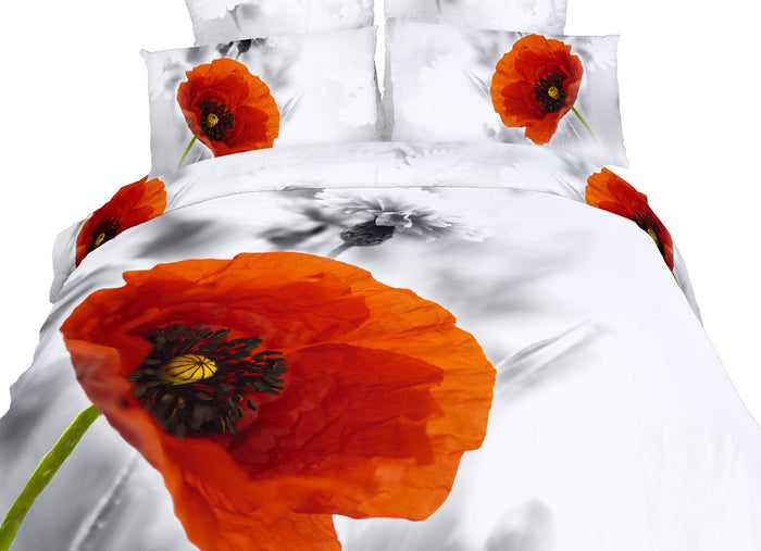 Red Poppies Floral 3D Bedding Twin XL Duvet Cover Set Designer Ensemble