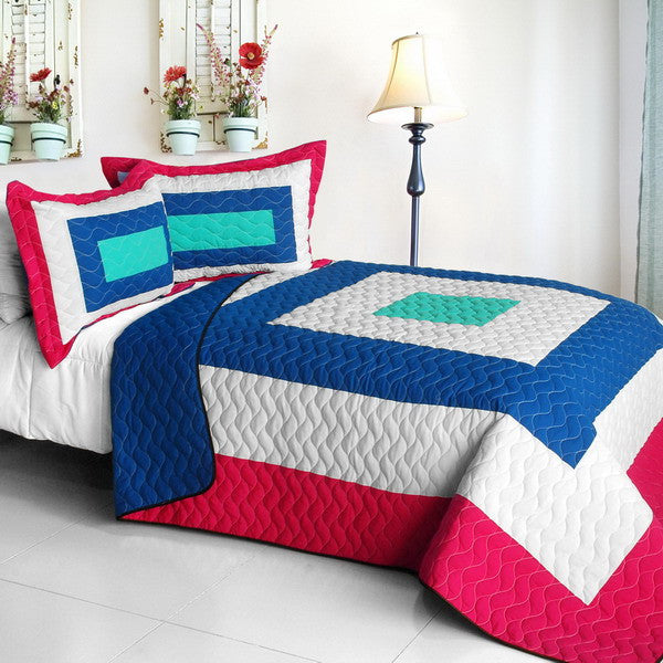 Hot Pink Blue White & Turquoise Geometric Teen Bedding Full/Queen Quilt Set Modern Bedspread