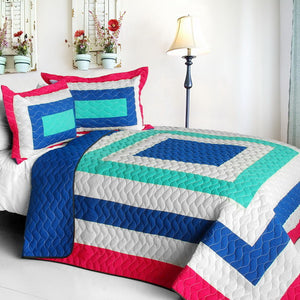 Blue Green White & Hot Pink Teen Girl Bedding Full/Queen Geometric Quilt Set Bedspread