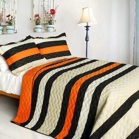 Black Orange Striped Teen Boy Bedding Full/Queen Quilt Set Modern Bedspread