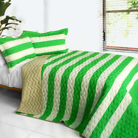 Green Soccer Theme Striped Bedding Girl or Boy Full/Queen Quilt Set Modern Bedspread