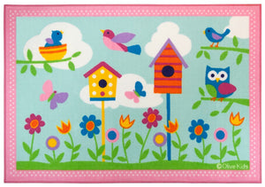 Birds Flowers Owl Area Rug - Pink & Blue Medium or Large Kids Room Rug