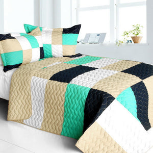 Black White Cream & Green Geometric Teen Bedding Full/Queen Quilt Set Elegant Patchwork Bedspread