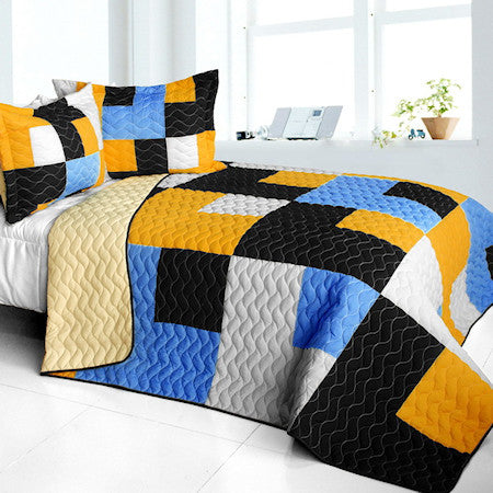 Black White Blue & Yellow Patchwork Teen Boy Bedding Full/Queen Geometric Quilt Set Modern Bespread