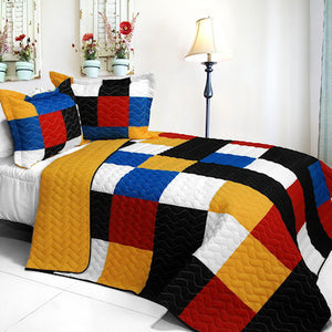 Black White Yellow & Red Checkered Teen Boy Bedding Full/Queen Quilt Set Geometric Bedspread