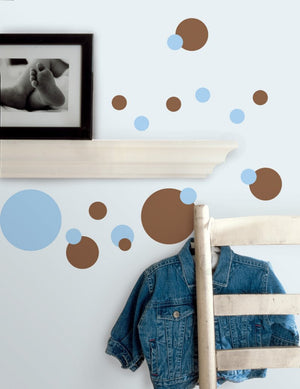 Blue and Brown Polka Dot Wall Stickers Decals Room Decor