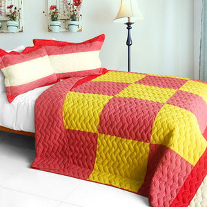 Geometric Hot Pink Yellow Patchwork Teen Girl Bedding Full/Queen Quilt Set Oversized Bedspread