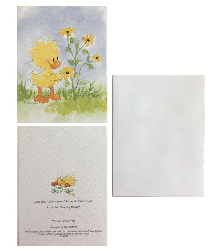 Little Suzy's Zoo Witzy's Sunflowers Memo Note Cards - 2 CT - Yellow Baby Duck