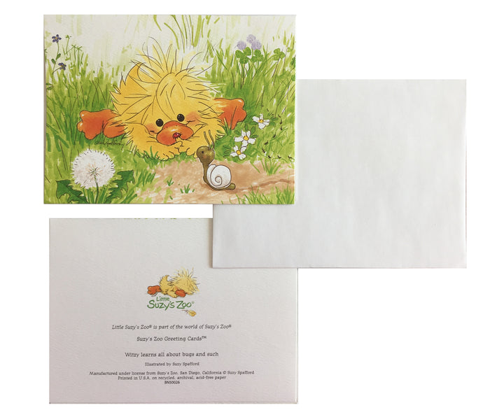 Little Suzy's Zoo Witzy & Snail Memo Note Cards - 2 CT - Yellow Baby Duck