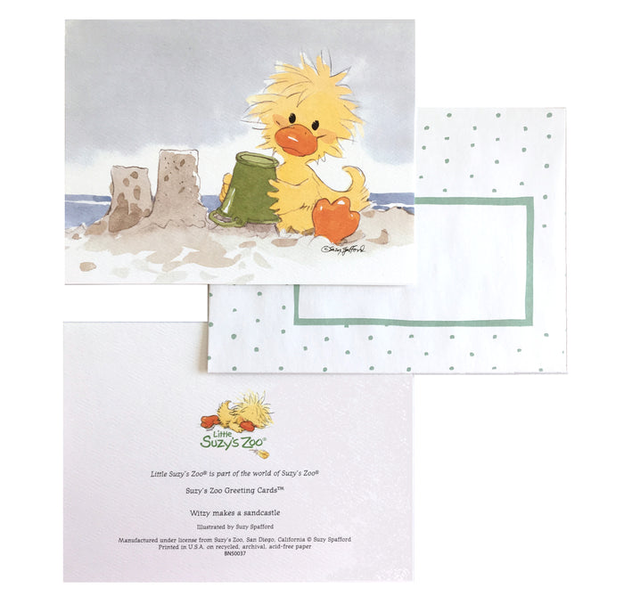Little Suzy's Zoo Witzy's Sandcastles Memo Note Cards - 2 CT - Yellow Baby Duck
