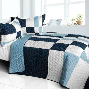 Blue White Navy Patchwork Teen Boy Bedding 3pc Full/Queen Quilt Set Checkered Bedspread