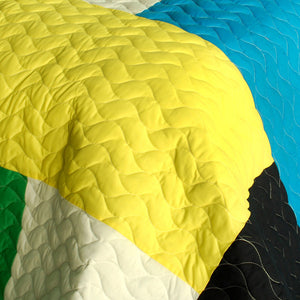 Geometric Blue Green Yellow Patchwork Teen Boy Bedding Full/Queen Quilt Set - Detail