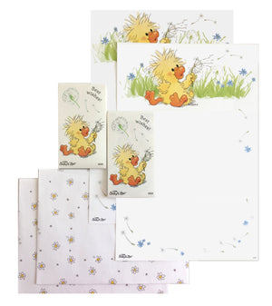 "Little Suzy's Zoo Witzy Duck Best Wishes Stationery Set - 2 CT - 6"" x 9"" with Stickers"