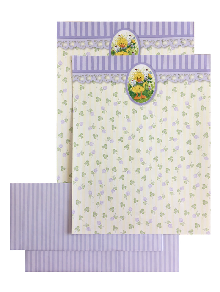 "Little Suzy's Zoo Witzy Duck with Flowers Computer Stationery Set - 2 CT - 8 1/2"" x 11"""