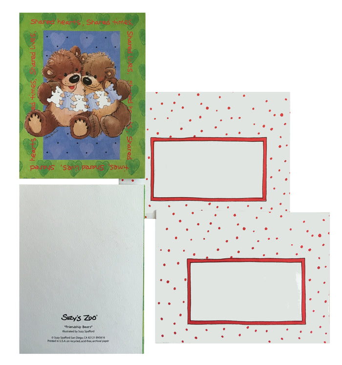 Suzy's Zoo Bears Memo Note Cards - 2 CT - Shared Hearts Shared Lives