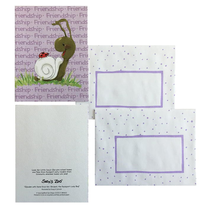 Suzy's Zoo Friendship Snail Memo Note Cards - 2 CT