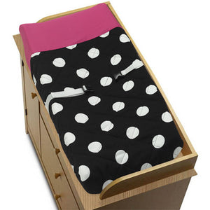 Hot Pink Black White Polka Dot Baby Changing Pad Cover for Girls