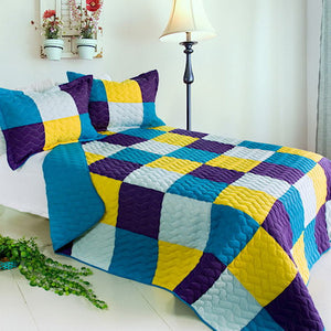 Blue Purple Yellow Patchwork Teen Boy Girl Bedding Full/Queen Modern Colorblock Quilt Set