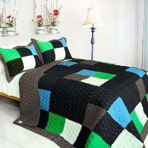 Minecraft Style Teen Boy Bedding Twin Quilt Set Blue Green Black Block Patchwork Bedspread