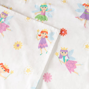Fairy Princess Cotton Bed Sheet Set for Girls Toddler Twin Full