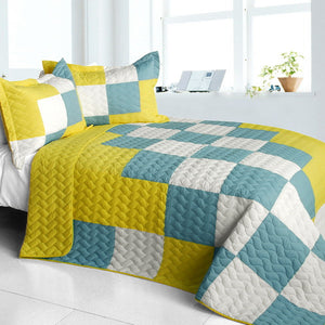 Modern Blue Yellow & White Checkered Teen Bedding Full/Queen Quilt Set Geometric Bedspread