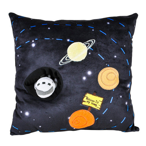 "Outer Space Black Plush Decorative Pillow 13"" with Attached Rocket Toy Galaxy Solar System"