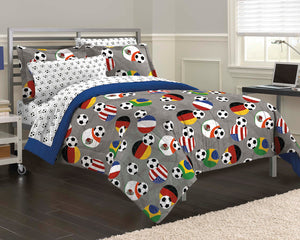 USA & World Soccer Bedding Twin Full Queen Comforter Set Bed in a Bag Gray Blue Fifa Flags