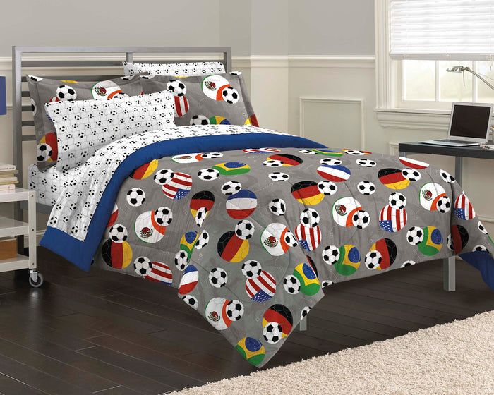 USA World Cup Soccer Bedding Twin Comforter Set Bed in a Bag Gray Blue Fifa Flags
