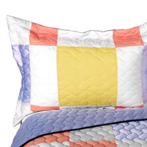 Pastel Pink & Blue Geometric Teen Girl Bedding Full/Queen Patchwork Quilt Set - Pillow Sham