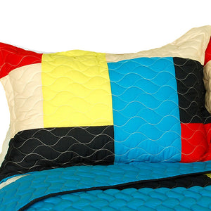 Red Blue Yellow Patchwork Teen Boy Bedding Full/Queen Quilt Set Oversized Bedspread