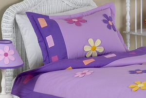 Purple Kids Pillow Sham for Girls - Daisies Collection